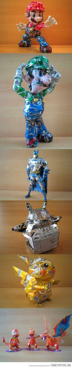 Awesome characters made out of aluminum cans…