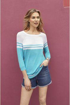 71d204ac3d1 Tall Stripe Raglan Sweater Long Tall Sally, Tall Women, Knits, Knitwear,  Crew