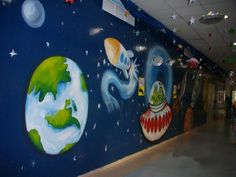 beautiful galaxy wall mural for a school in Dubai