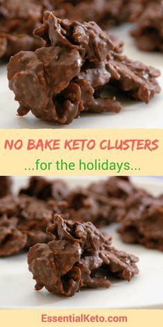 Keto No Bake Almond and Coconut Clusters - Make these low carb bites as a snack with tea or add them to your easy keto holiday recipe list Easy no bake low carb chocolate and coconut clusters. Low Carb Deserts, Low Carb Sweets, Keto Holiday, Holiday Recipes, Holiday Foods, Keto Cookies, Cookies Et Biscuits, Chip Cookies, Fudge Cookies