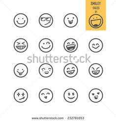 Smiley faces icons. Vector illustration. - stock vector