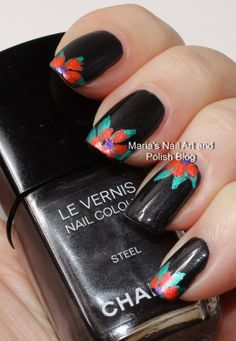 Floral nail art on Steel
