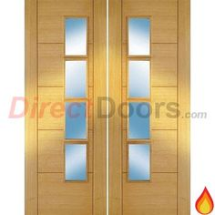 Iseo Oak 4 Light Veneer Fire Door Pair with Clear Glass, Pre-Finished, 30 Minute Fire Rated.  #doublefiredoors