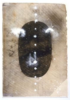 """ANONYMOUS: tantric painting Shiva linga 1994 (Sanganer& New Delhi) unspecified paint on found paper 14 x 9.75"""""""