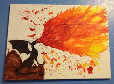 Melted Crayon Fire Breathing Dragon by KcranceArt on Etsy