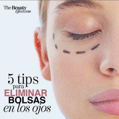Tips para eliminar las bolsas en los ojos. Makeup Tips, Beauty Makeup, Eye Makeup, Hair Beauty, Beauty Care, Beauty Hacks, Facial Tips, Puffy Eyes, Facial Treatment