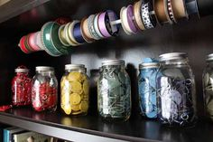 Briliant ribbon storage plus tons of other ideas for craft room organization at craftaholicsanonymous.net!