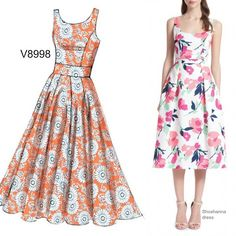 Sew the Look: All you need is a great floral print and this pattern from Vogue Patterns to sew the perfect dress this season. Skirt Patterns Sewing, Vogue Patterns, Clothing Patterns, Sundress Pattern, Simple Dress Pattern, Fit N Flare Dress, Dress Tutorials, Schneider, Sewing Accessories