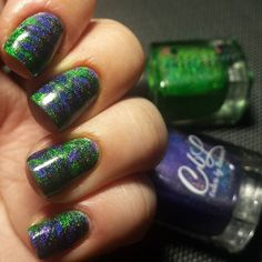Colors by llarowe Gemini Rising and Ghouls Just Wanna Have Fun dry marble mani. Photo from eylindi
