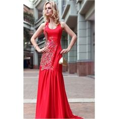 Mermaind Round Neck Floor-length Beading Embroidered Red Evening Dress
