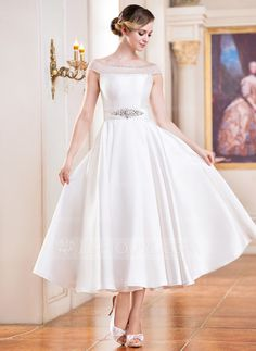 Wedding Dresses - $159.99 - A-Line/Princess Off-the-Shoulder Tea-Length Satin Tulle Wedding Dress With Beading Sequins (002052698) http://jjshouse.com/A-Line-Princess-Off-The-Shoulder-Tea-Length-Satin-Tulle-Wedding-Dress-With-Beading-Sequins-002052698-g52698