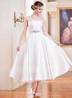 Wedding Dresses - $159.99 - A-Line/Princess Off-the-Shoulder Tea-Length Satin Tulle Wedding Dress With Beading Sequins (002052698) http://jjshouse.com/A-Line-Princess-Off-The-Shoulder-Tea-Length-Satin-Tulle-Wedding-Dress-With-Beading-Sequins-002052698-g52698