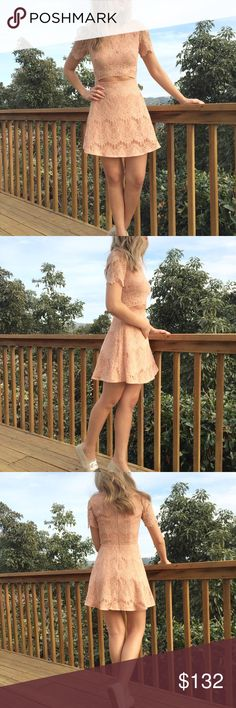 🎀 Revolve | Stylewalker Lace Peek-a-boo Dress Worn once! Sweet and flirty peach lace dress with a zipper opening on the back 💕 ❌ trades Revolve Dresses Mini