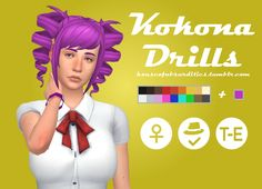 Here's the hair that I mentioned to that one curious anon. It's the hairstyle of Kokona Haruka from Yandere Simulator remade to be maxis-match. I did model the side-hair and drills myself, so a lot of effort was put into this. Comes with the EA 18...