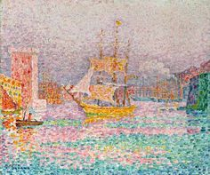 Paul Signac - Navire à voile dans le port de Marseille