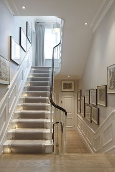 runner with lights - for basement stairs? runner with lights – for basement stairs? Basement Stairs, House Stairs, Stairs And Hallway Ideas, Staircase Ideas, Stairs With Lights, Staircase With Runner, Hallway Entrance Ideas, Stairs With Landing, Bannister Ideas