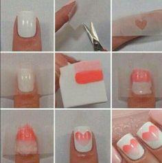 Faded heart nails!