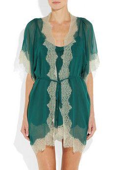 Jenny Packhamlace trimmed silk chiffon robe.