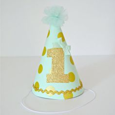 1st Birthday Party Hat  Baby Girl  Mint Green by LittleMissCharlie