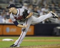 Craig Kimbrel follows through on a pitch in the ninth-inning of the Braves 4-3 victory against the New York Yankees!!
