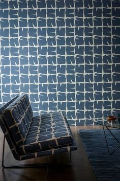 Moqui is an abstract wallpaper by Scion featuring a jagged rock repeat pattern in denim blue.