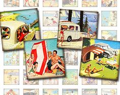 Happy Camper Beach Squares, Digital Collage Sheet of one inch squares featuring Images of Trailers, Campers, Beaches, Instant Download Png