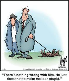 Herman by Jim Unger Cartoon Jokes, Cartoon Dog, Funny Cartoons, Funny Long Jokes, The Funny, Hilarious, Funny Humor, Herman Cartoon, Herman Comic