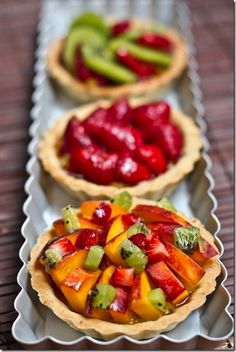 Vegan Fruit Tarts (Ohsheglows) -- eyeing the vegan custard recipe which I am thinking of transforming into a cardamom spiced cream topping for chocolate cake. If I do make a tart I will use an olive oil crust recipe. Easy Tart Recipes, Custard Recipes, Fruit Recipes, Vegan Treats, Vegan Desserts, Just Desserts, Delicious Desserts, Fruit Custard Tart, Good Food