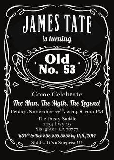 Jack Daniels themed poster for a clients 40th Birthday Party
