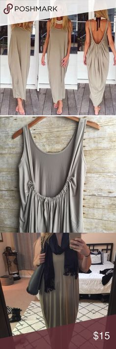 Taupe Boho Maxi NWT.  Soft and stretchy material. Very comfortable! You will not want to take it off!  Drapes down in the back and narrows at the ankles.  Very Grecian style Dresses Maxi
