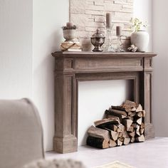 """put this under rustic, but only because of the simplicity and textures, if it is rustic it is definitely """"rustic glam"""" Faux Fireplace Mantels, Fireplace Mantle, Fireplace Design, Mantles, Basement Fireplace, Simple Fireplace, Fireplaces, Kitchen Ornaments, Diy Home Decor"""