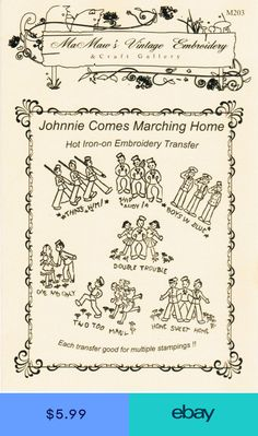 M203 Patriotic Military Johnnie Marching WWII DOW Embroidery transfer pattern