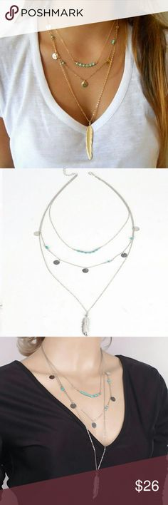 New!! Boho Layer Turquoise Feather Necklaces Brand NWT in original packaging  Trendy and beautiful layered necklace. 3 layers of turquoise beads, Bohemian coins, leaf & feather pendant  Link chain 50cm + 5cm extender for adjustable length. Lobster claw clasp closure  Feather pendant: 4.5cm Gold & silver available Nickel & Lead free  Bundle & save! Jewelry Necklaces