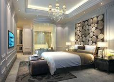 Polsterwand Im Schlafzimmer Wandpaneel Bett Rückenpolster Wand Rückenlehne  Polster Design Braun Luxus Modern #bedroom