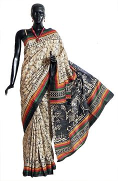 Light Beige Tussar Silk Saree with Black Warli Print All-Over (Silk Tussar))