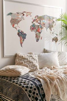 I will have so many world maps in my home Urban Outfitters Bianca Green Louis Armstrong Told Us So Art Print World Map Art, Creation Deco, Louis Armstrong, Cozy Bed, My New Room, Dream Bedroom, Home And Living, Bedroom Decor, Kids Bedroom