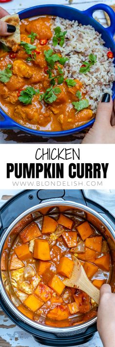 How to make pumpkin chicken curry with coconut milk in just 25 minutes? In an Instant Pot of course. But dont worry if you dont have one yet as Ive also included the stovetop and slow cooker methods in this article. Coconut Milk Recipes, Coconut Milk Curry, Best Chicken Recipes, Easy Recipes, Oven Recipes, Healthy Recipes, Chicken Pumpkin, Pumpkin Curry, How To Make Pumpkin