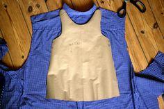Auf einem Flohmarkt in Winterhude habeich am Wochenende dieses Männerhemd für 1 € erstanden und habe soeben ein schnelles Sommerkleidchen daraus genäht, in Größe 86.