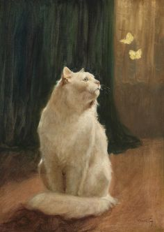 "Arthur Heyer, ""White Cat and Two Brimstone Butterflies,"" n.d."