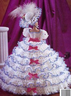 Free+Printable+Crochet+Doll+Patterns | ... of Nashville Ruffled Gown for Barbie Fashion Dolls Crochet HTF PATTERN