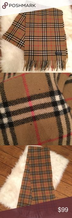 BURBERRY Classic Plaid Lambswool Fringe Long Scarf BURBERRY Classic Plaid Lambswool Fringe Long Scarf. Has some imperfections pictured . Cannot tell at all when wearing! 100% Authentic 100% Lambswool Burberry Scarf, Made in England  Unisex Burberry Accessories Scarves & Wraps