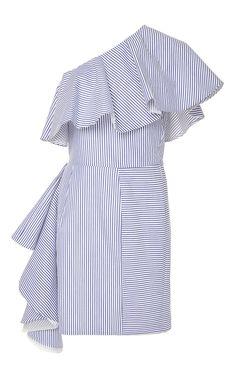 Takeo One Shoulder Shirting Dress by VIVA AVIVA for Preorder on Moda Operandi