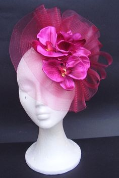 Pink magenta fascinator hair headpiece hat / Kentucky Derby hat with orchids / Flower fascinator / Wedding fascinator