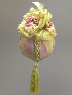 """Towers & Turrets- """"Avon Lady"""" -Large Pastel Pink Moire Faille Fabric Christmas Ornament with Parchment Roses- Victorian inspired, Handmade"""