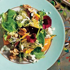 Vegetable and Green Salad Recipes | Beets with Walnuts, Goat Cheese, and Baby Greens | CookingLight.com