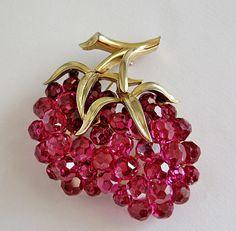 Trifari Crystal Glass Raspberry Fruit Brooch
