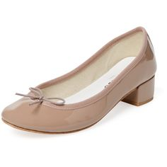 Repetto Women's Camille Ballerina Patent Leather Block Heel Pump -... ($239) ❤ liked on Polyvore featuring shoes, pumps, patent leather pumps, bow pumps, tan pumps, low heel shoes and low block heel shoes