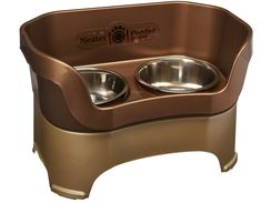 Neater Feeder Deluxe Large Dog (Bronze) – The Mess Proof Elevated Bowls No Slip Non Tip Double Diner Stainless Steel Food Dish with Stand – Pet Supplies, Pet Accessories Pet Products Online Large Dog Breeds, Large Dogs, Elevated Dog Bowls, Stainless Steel Dog Bowls, Large Dog Clothes, Dog Ramp, Cat Feeder, Dog Items, Dog Feeding