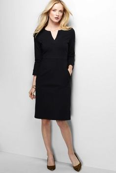 Women's 3/4-sleeve Ponté Sheath Dress from Lands' End/The rare black dress I want. Great structure and just classy.