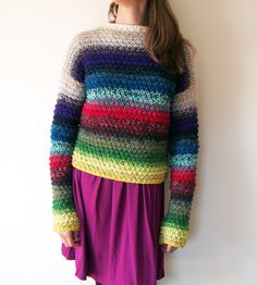**There Was A Whole Pullover In There? Using Your Scraps For Ombré Magic** -- May 2015 -- ORIGINAL PINNER SAYS: How to use a simple slip stitch pattern to manage all the crazy colors and weights in your leftovers stash! Fair Isle Knitting, Knitting Yarn, Knitting Patterns, Knitting Designs, Crochet Jumper, Knit Crochet, Crochet Clothes, Diy Clothes, Scrap Yarn Crochet